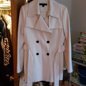 Cream colored peacoat